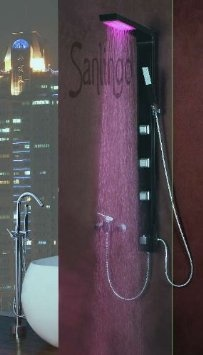 Black Shower Panel in Aluminium with LED from Sanlingo: Amazon.co.uk: Kitchen & Home