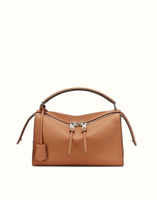 FENDI   LEI SELLERIA toffee Roman leather Boston bag