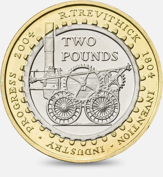 200th Anniversary of the first steam locomotive by Richard Trevithick - 2004 http://www.royalmint.com/discover/uk-coins/coin-design-and-specifications/two-pound-coin/2004-steam-locomotive-anniversary