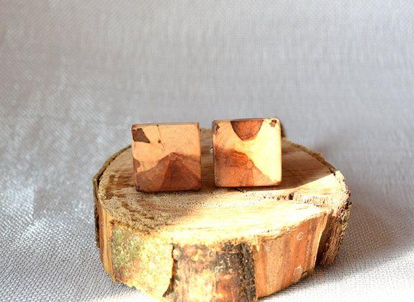Cufflinks from apple tree, wooden cufflinks, by Mazunii on Etsy