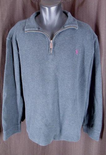 Polo Ralph Lauren Cotton Dark Gray 1/2 Zip Pullover Sweater