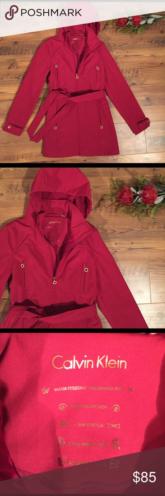 Calvin Klein women's rain jacket hood XS PINK Calvin Klein women's rain jacket hood XS PINK water resistant, wind protections, 4 way stretch, detachable hood, adjustable cuffs EUC, no signs of wear Calvin Klein Jackets & Coats
