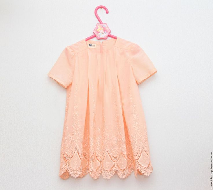 Нарядное платье для девочки из вышитого батиста персикового цвета - платье для девочки, для девочки