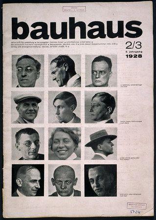 Cover of Bauhaus journal No. 2/3 1928.   Left to right from top.     1st row: Wassily Kandinsky, Lyonel Feininger, Paul Klee   2nd row: Hannes Meyer, Hinnerk Scheper, Josef Albers  3rd row: Joost Schmidt, Gunta Stölzl, Hans Wittwer  4th row: Ernst Kallai, Oskar Schlemmer, Mart Stam
