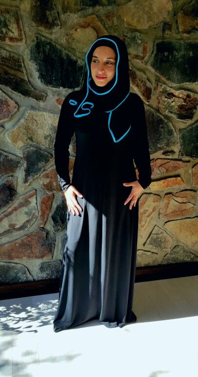 Classic black abaya with scarf attached