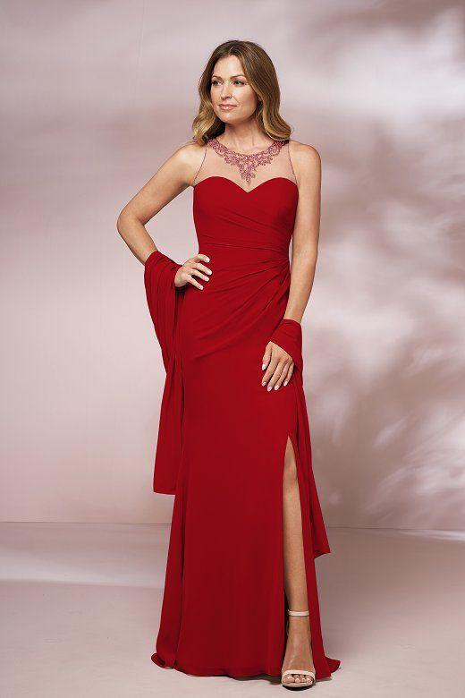 2a38bc5e941 J205002 Long Jewel Neckline Jade Chiffon MOB Dress with Shawl   Slit ...