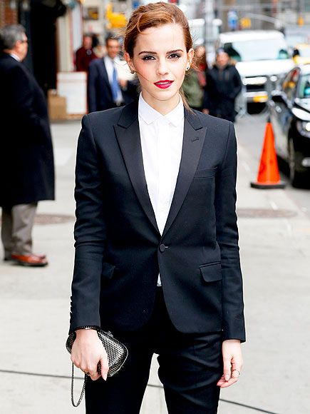 Star Tracks: Wednesday, March 26, 2014 | SUIT YOURSELF | Looking sharp! Emma Watson complements her sleek Saint Laurent suit with a bold lip before an appearance on the Late Show with David Letterman Tuesday in New York City, where she promoted her new movie Noah, in theaters Friday.