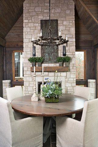 fireplace dining :: Lake Keowee, SC