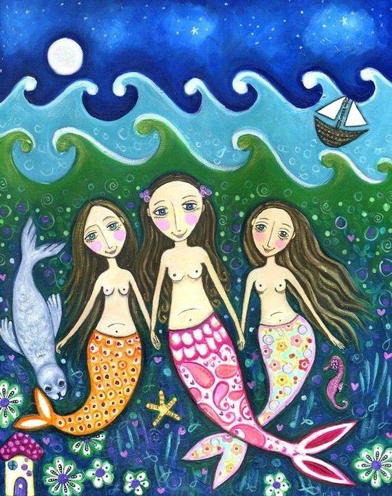 Mermaid print folk art girls room art three sisters whimsical childrens wall decor - 'Ocean of Trust'