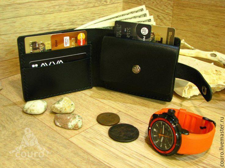 Купить Мужской кошелек из натуральной кожи черного цвета - черный, кожаный кошелек, натуральная кожа