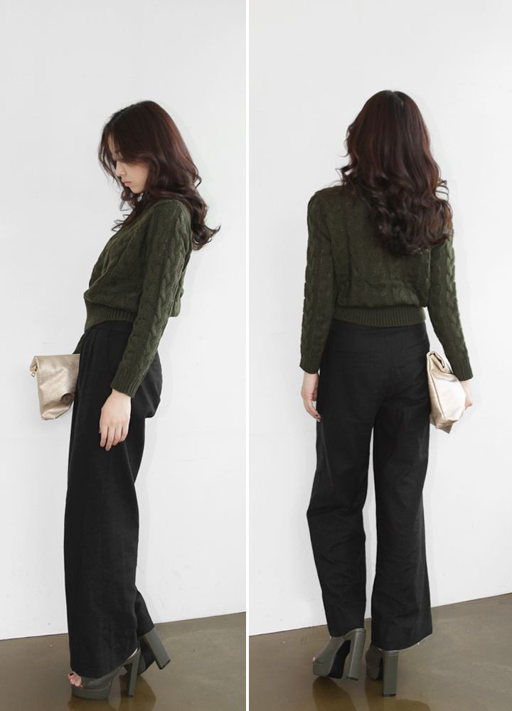 [reflower] 푸치노니트 / women's mini crop knit : 리플라워