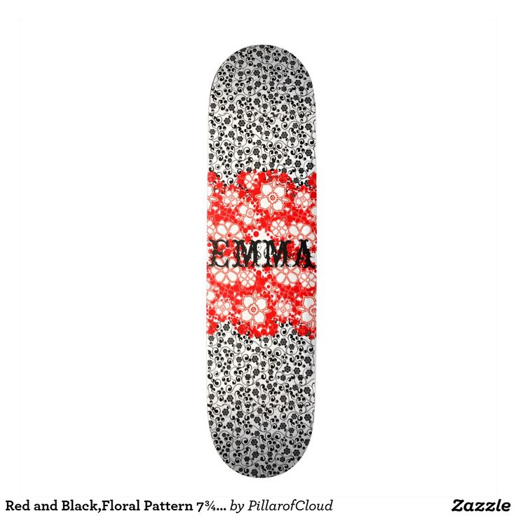 "Red and Black,Floral Pattern 7¾"" Skateboard"
