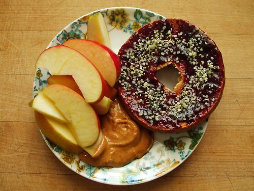 ... peanut butter, whole wheat bagel with boysenberry jam, and hemp hearts