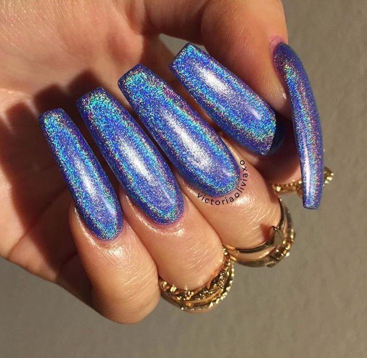 Blue glitter nails | Nail Inspo