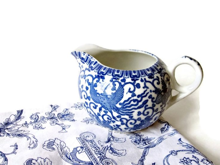 Vintage Blue White Transferware Creamer/ Japanese Phoenix / Flying Turkey Traditional Asian Pattern/ Small Pitcher by LaTrouvaille on Etsy
