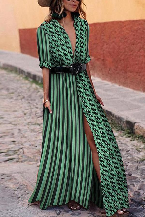 f17fb69e702 Sexy Green Short Sleeves V Neck Floral Print Maxi Dress in 2019 ...