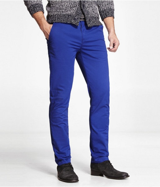 Express Mens Colored Chino Photographer Pant Skinny Cobalt Blue, W38