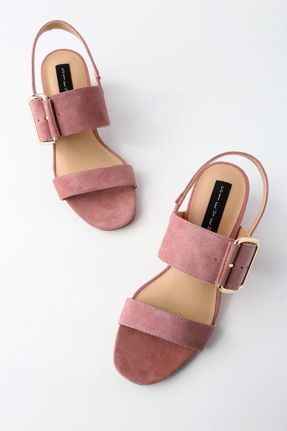 You bet we are fond of the Steven by Steve Madden Fond Rose Suede Leather High Heel Sandals! Supple genuine suede leather shapes these stylish sandals with a two-strap, peep-toe upper, and back slingback strap. Gold buckle.