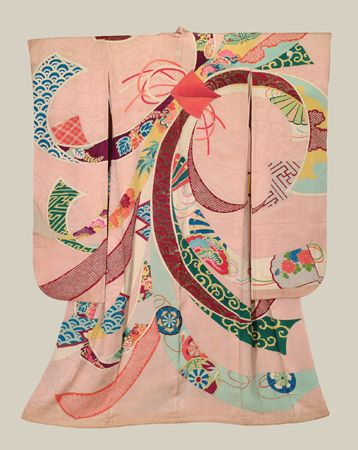"""Tabane-Noshi Furisode - Meiji (1868-1911). Although the layout and design of this striking antique furisode may seem to be quite """"modern"""", it is in fact very similar to at least one 18th century example [The Story of The Kimono, Jill Liddell, plate 200]. The prominent motif on this furisode is that of the Tabane-Noshi: """"noshi"""" originally means narrow strips of dried abalone bundled together in the middle, and was the ritual offering to God in Japanese Shinto religion."""