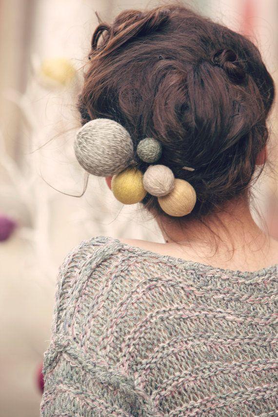 romantic hair accessories - yarn ball hair pin - rustic hair pins - long hair style - hair accessory - hair pin set - hair pieces