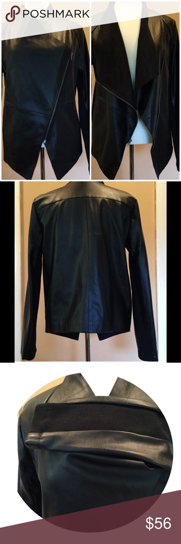"BB Dakota Vegan Leather Drape jacket gently used; Foxy jacket looking for new home. Armpits 21"", length 27"", arms 26"". BB Dakota Jackets & Coats"