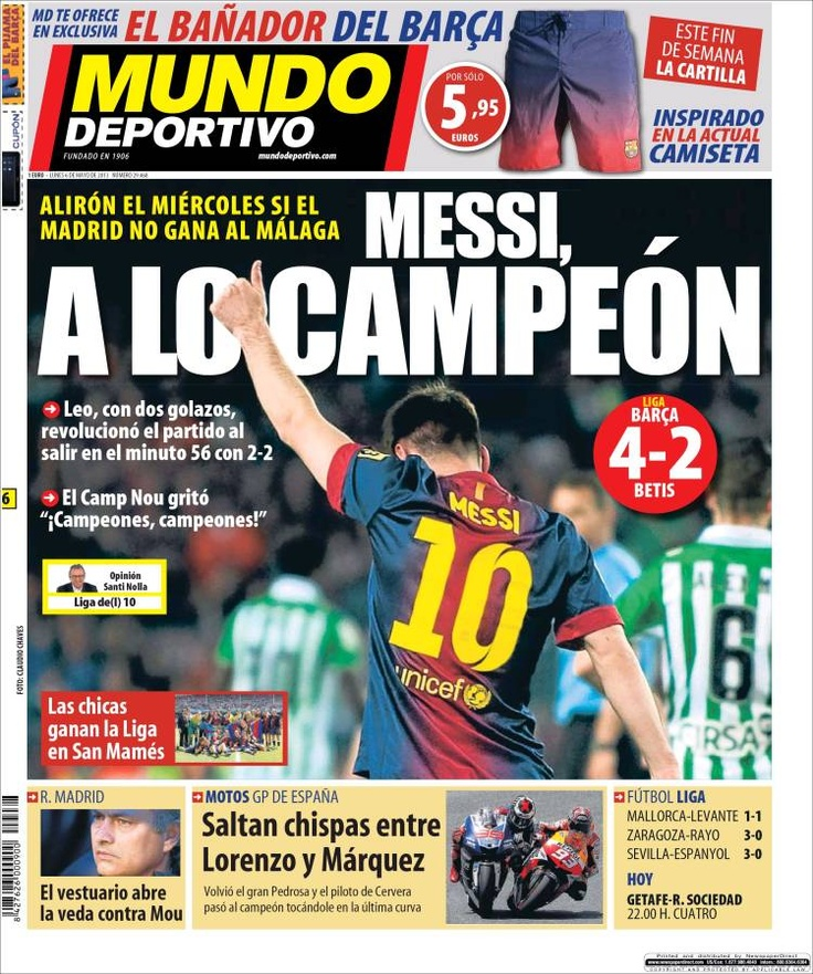 Los Titulares y Portadas de Noticias Destacadas Españolas del 6 de Mayo de 2013 del Diario Mundo Deportivo ¿Que le parecio esta Portada de este Diario Español?