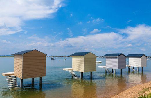 Osea Beach Huts, Maldon, Essex. Marley Eternit Cedral weatherboard