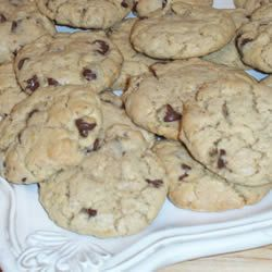 Hillary Clinton's Chocolate Chip Cookies      1 1/2 cup unsifted all-purpose flour  1 teaspoon salt  1 teaspoon baking soda  1 cup solid vegetable shortening  1 cup firmly packed light brown sugar    1/2 cup granulated sugar  1 teaspoon vanilla  2 eggs  2 cups old-fashioned rolled oats  1 (12-ounce) package semi-sweet chocolate chips