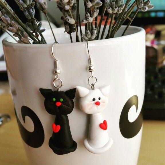 Fimo Love Cats earings