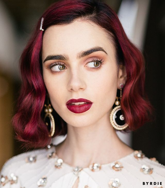 Fall Makeup Inspiration Bold Lips Lily Collins Makeup Look Red Hair Red Hair Model Model Hair Red Hair Color