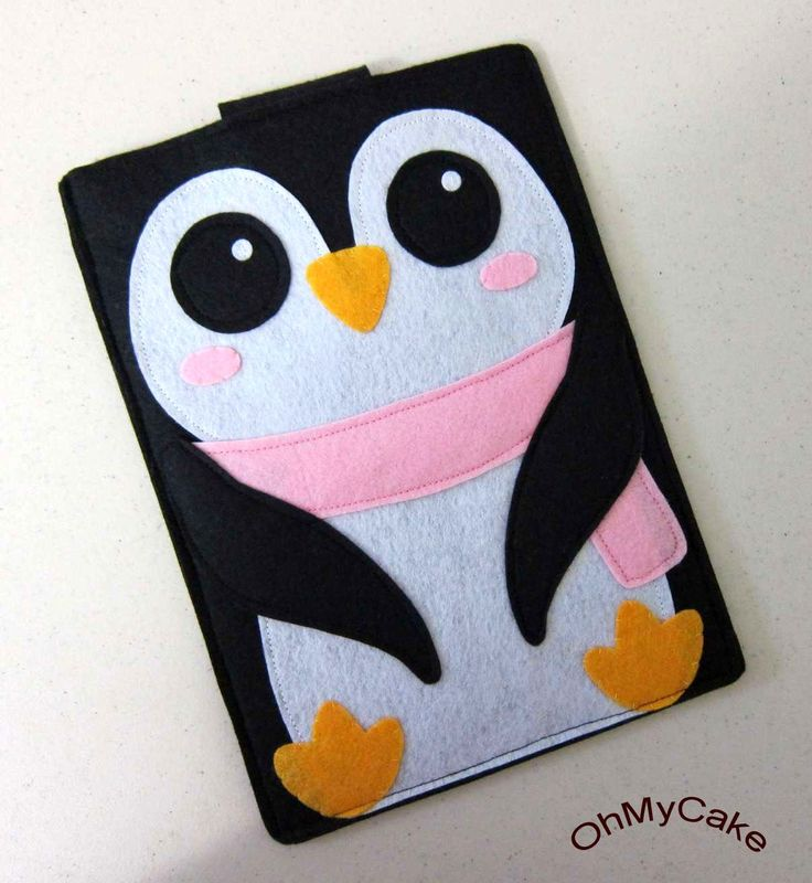 "Handmade Felt Kindle Case - Kindle 3 Cover - Kindle Fire Case - Kindle Touch Cover - Nook Case - Kindle Sleeve - ""Girly Penguin "" Design. $35.00, via Etsy."