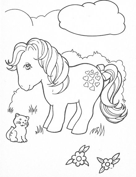 The original My Little Pony Applejack And Cat Coloring Pages
