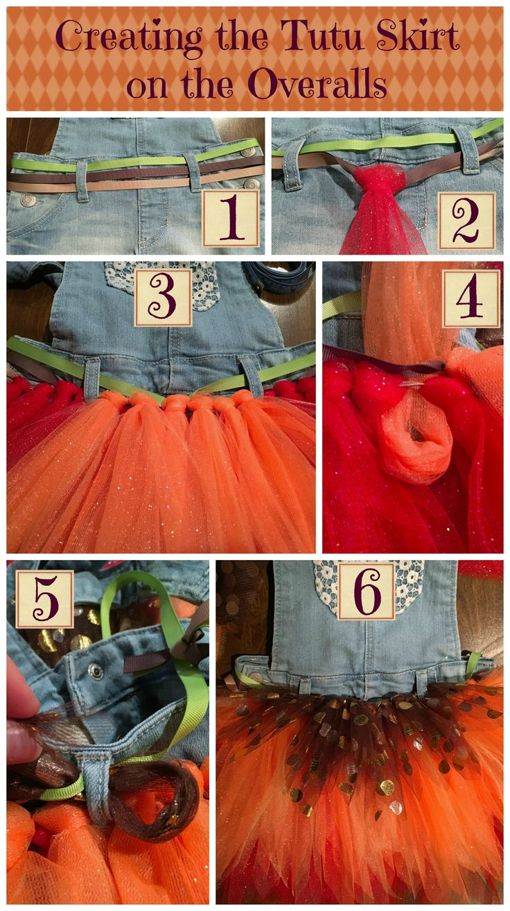Create a no-sew layered tutu with pointed edge tulle strips.  Attach your autumn tutu to a pair of overalls or shorts for a unique fall outfit.