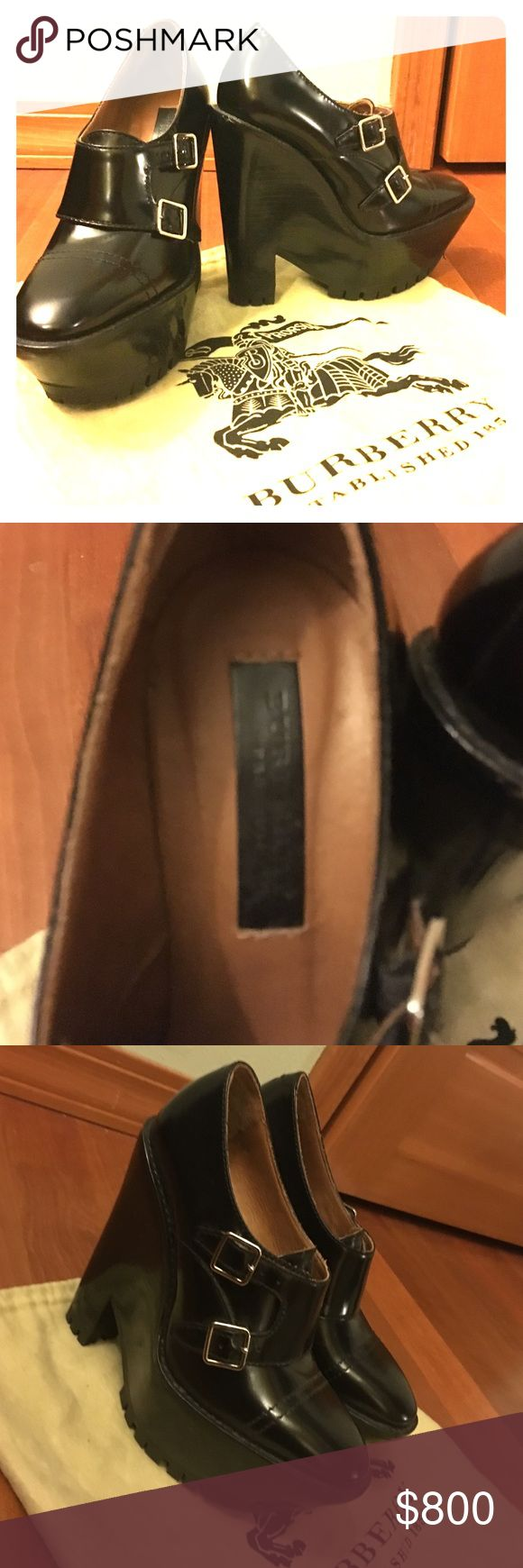 "Burberry limited edition booties Burberry black leather booties size 37 euro 7 US worn twice, heel 7"" silver buckles. Tiny scuff   On left back heel otherwise in pristine condition. Comes with dust bag no box or card. No trades. Burberry Shoes Ankle Boots & Booties"