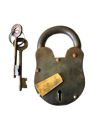 45% OFF Locks of Love Vintage Inspired Cast Iron Padlock with Brass Accent, c1950s