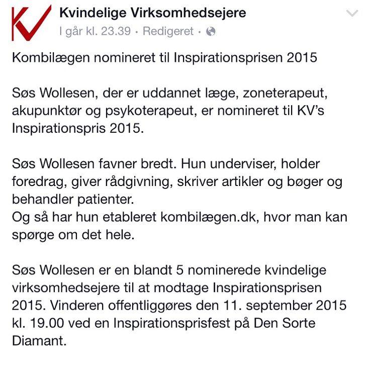 Nomineret 2015. Stolt og ydmyg
