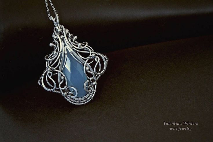 Silver necklace,natural blue chalcedony gemstone,sterling silver jewelry,blue chalcedony gemstone, wire wrapped jewelry,silver handmade #handmadesilverjewelry #wirewrappedjewelry
