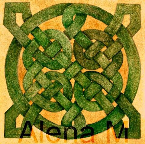 Keltský uzel -akvarel originální malba symbol akvarel keltský keltský uzel irský symbol