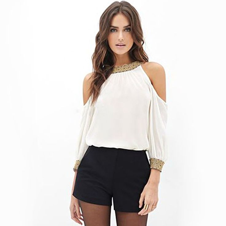 FANALA Women Sequins Shirt Blouse 2017 Summer Off Shoulder Chiffon Tops Blouses Long Sleeve Sexy Blouse Women Blusas Female S-XL