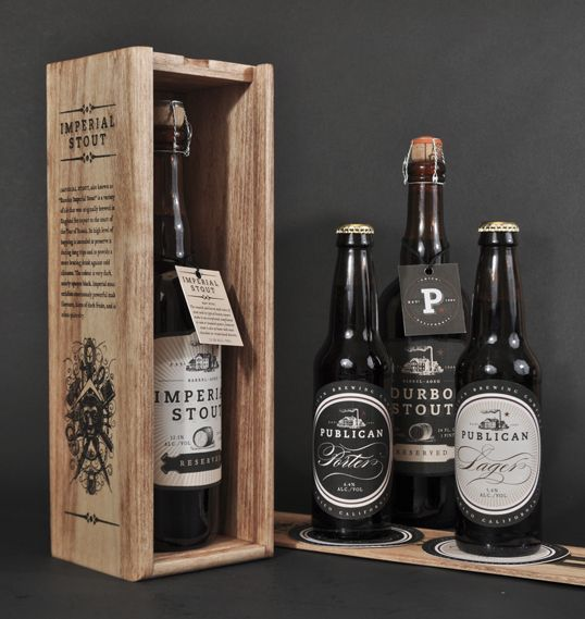 Beautiful Imperial Stout Beer Packaging via Lovely Package: Publican Brewery, Students Work, Packaging Design, Beer Packaging, Beer Bottle, Brewing Company, Wood Boxes, Beer Design, Design Blog