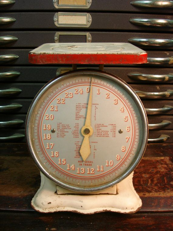Cute working circa 1930 rustic red and white by for Rustic kitchen scale