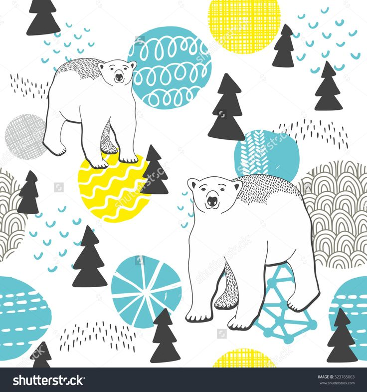 Endless pattern with winter forest and white bears. Vector illustration.