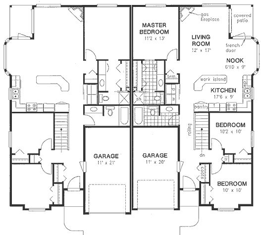 Ranch multi family plan 58770 house plans floors and for Multi family house plans