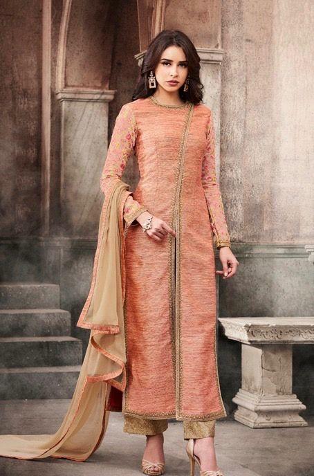 #peach #colour #kurti #georgettesuits | peach colour chiffon kurti | chikku colour dupatta | fancy wear |