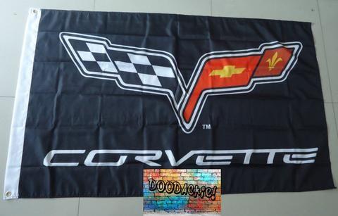 Chevrolet Corvette Banner Flag - Black