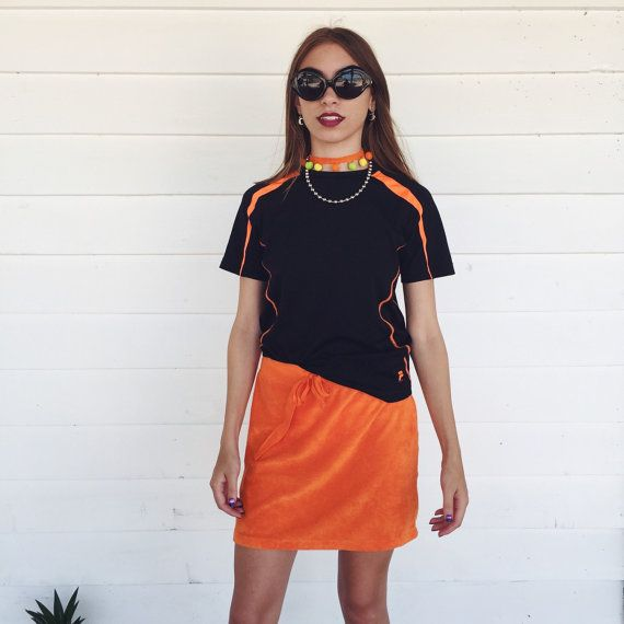 90s BLACK and Neon Orange FILA  Logo Athletic by SHOPTELEPATHY