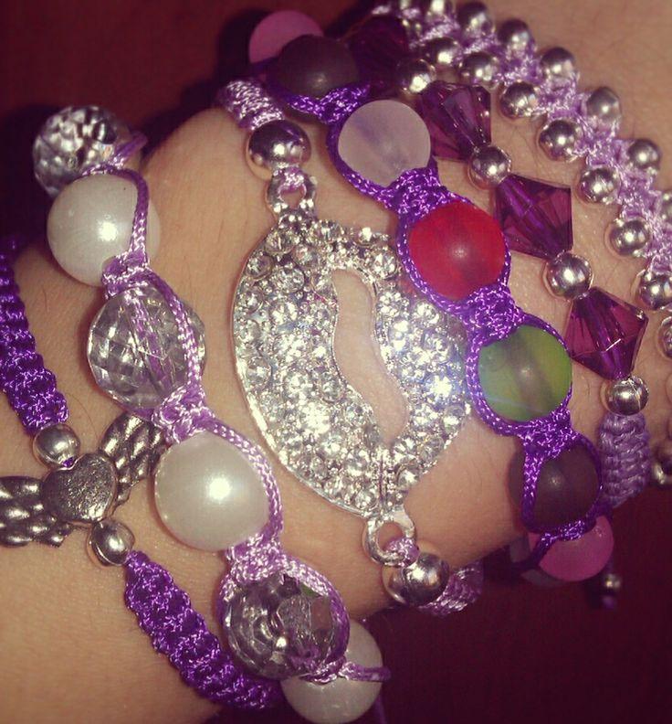Purple macrame bracelets by CC Bracelets