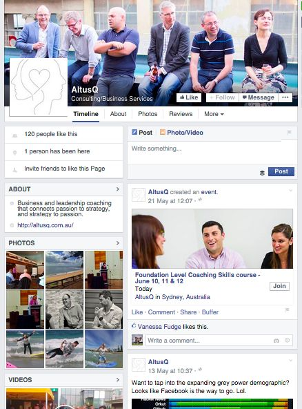 While only small likes by comparison to others, AltusQ provide a fun, easygoing display on Facebook that goes well with their LinkedIn profile and other Social Media profiles as links from their website. While their posts may not be seen much, this is a great example of providing information via social media for potential clients to see your organisation's style, credibility and more.