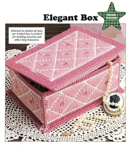 Elegant Box longstitch plastic canvas pattern: Canvas Plasticas, Canvas Ideas Patterns, Stitch Tapestry Plastic Canvas, Plastic Canvas Patterns, Plastic Canvas Trinket, Box Design, Canvas Designs, Canvas Trinket Boxes, Canvas Boxes