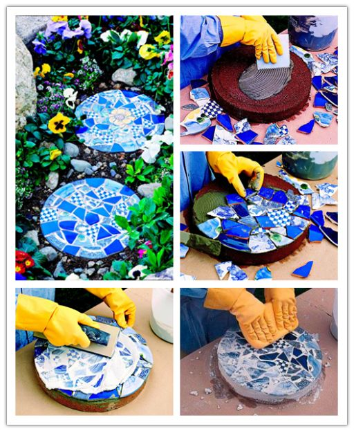 Mosaic is a great way to add color to your landscaping. Here is a step by step tutorial for you to make some lovely garden stepping stones. Stepping Stones